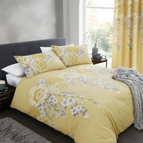 Oriental Blossom Yellow Single Quilt Set