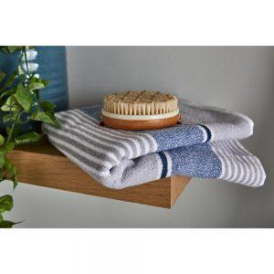 Bath Towel Textured Stripe Blue