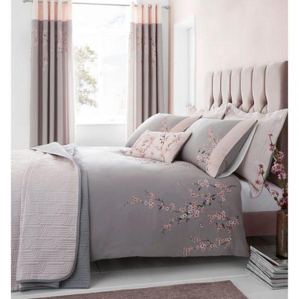Double Grey Blosson Duvet Set