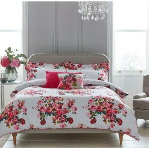 Double Roses Pink Duvet Cover Set