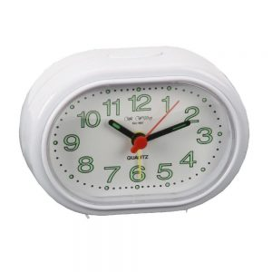 Oval Alarm Clock With Beep Function White