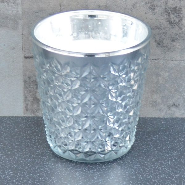 11.7cm Glass Candle Silver Hyacinth and Lily Scent