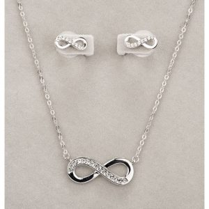 Newgrange Silver Infinity Necklace and Earring Set