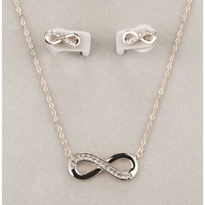 Rose Gold Infinity Necklace and Earring Set