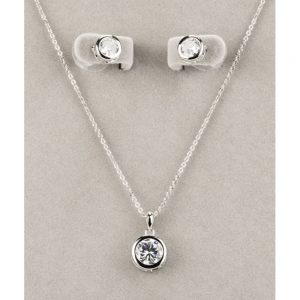 Silver Large White Stone Necklace and Earring Set