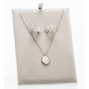 Rose Gold Round Diamante Necklace and Earring Set