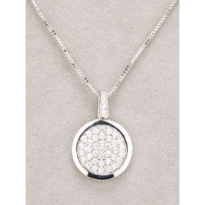 Newgrange Silver Diamante Round Pendant