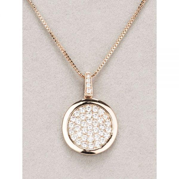 Newgrange Rose Gold Diamante Round Pendant