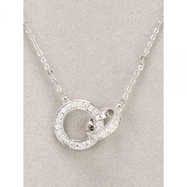 Newgrange Silver Interlocking Diamante Necklace