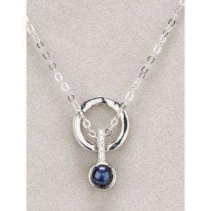 Newgrange Silver Diamante Blue Stone Necklace