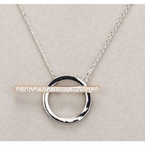 Silver and Rose Gold Diamante TBar Necklace