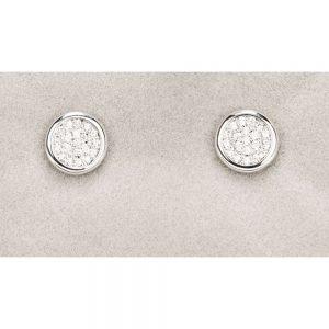 Newgrange Silver Diamante Round Earrings