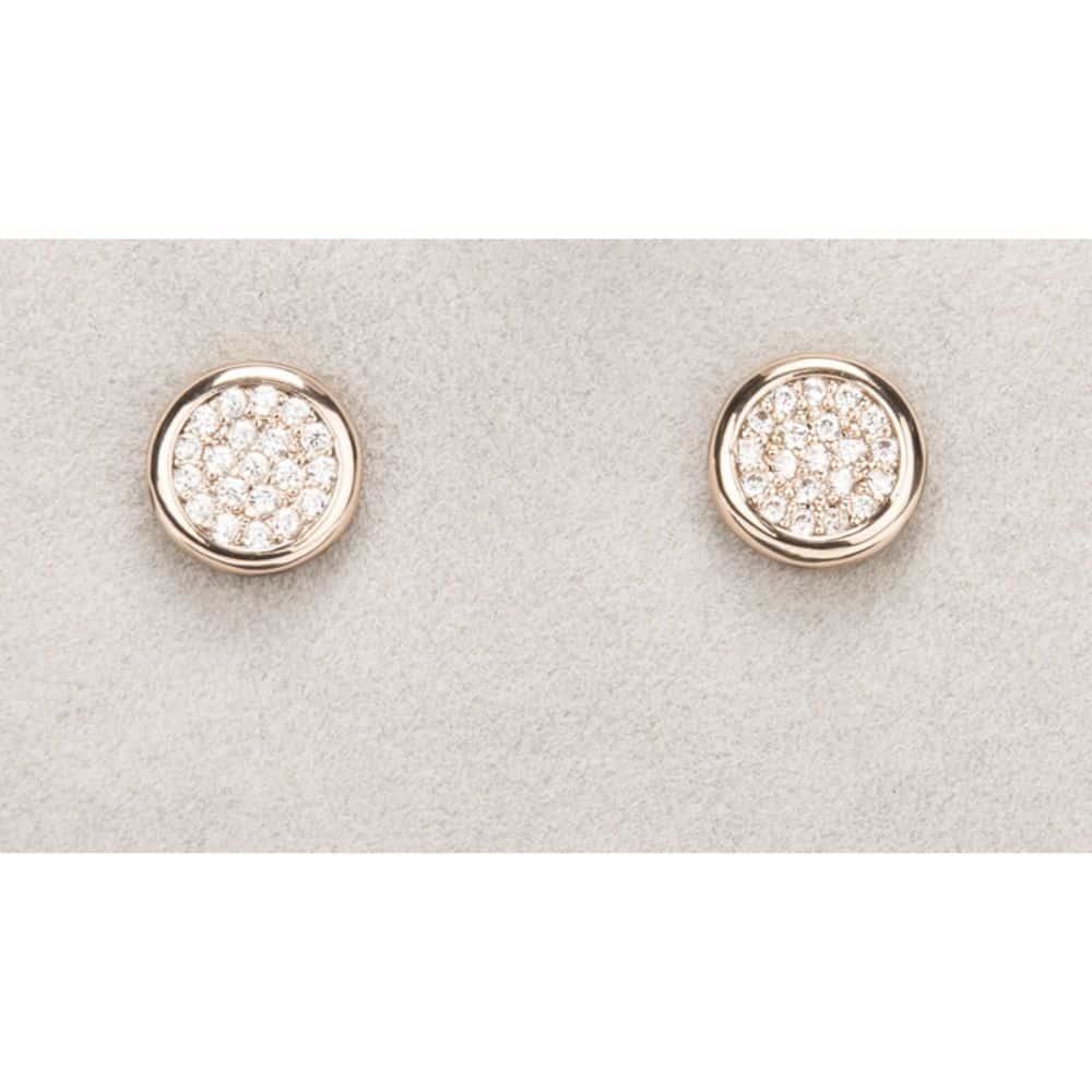 Newgrange Rose Gold Diamante Round Earrings