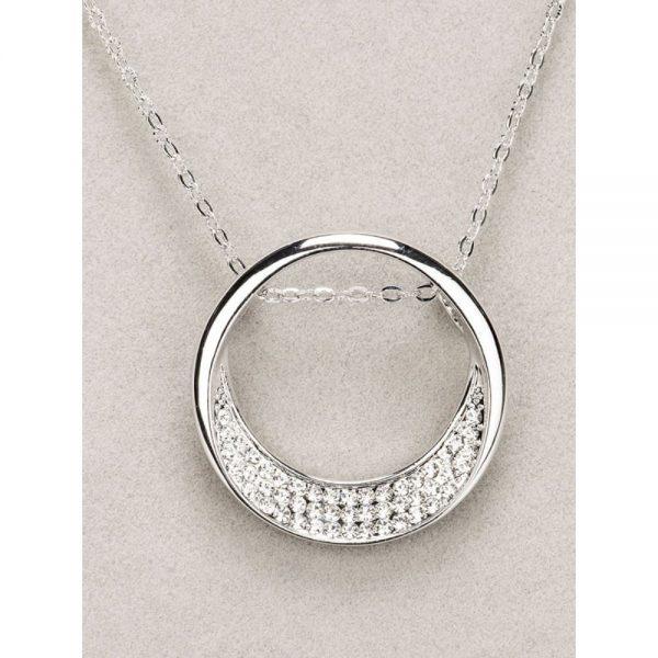 Newgrange Silver Half Moon Diamante Pendant