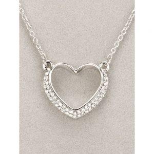 Newgrange Silver Diamante Heart Necklace