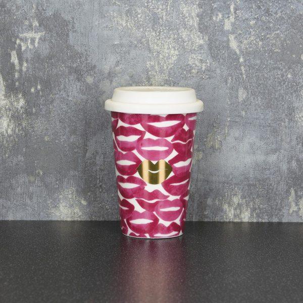 15cm Travel Mug Pink Gold Lips