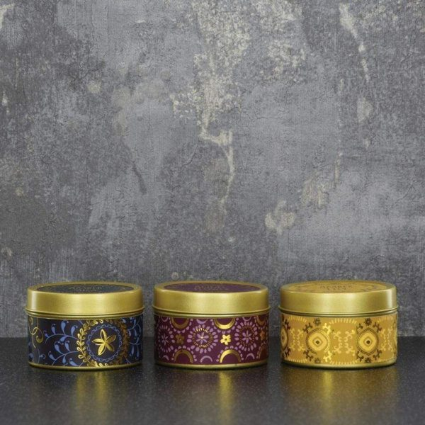 Set of 3 Candle Tins Plum Gold Ochre