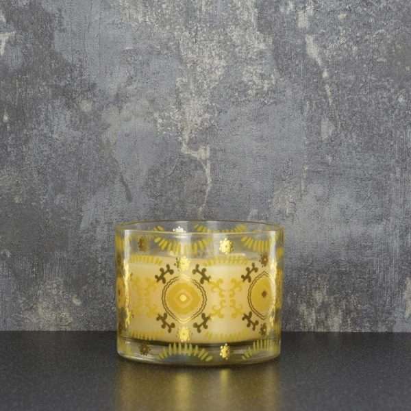 10X7cm Glass Wax Pot 2 Wicks Ochre Gold Lily