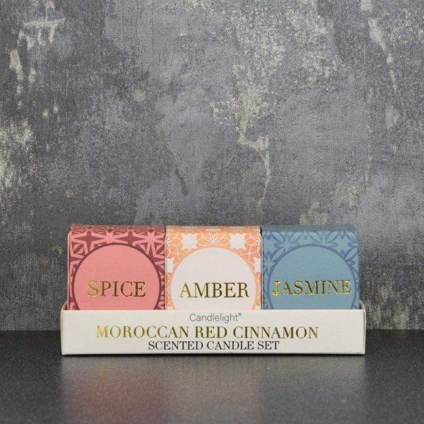 Set of 3 Glass Votives Morocco Cinnamon