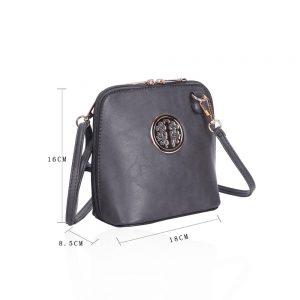 Circular Detail Mini Cross Body Bag in Dark Grey