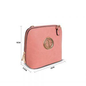 Gessy Circular Detail Mini Crossbody Bag Dark Pink
