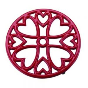 Small Red Round Trivet