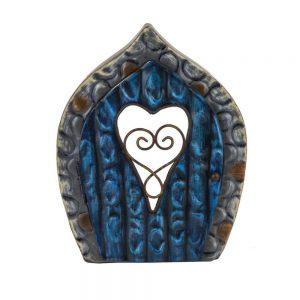 Fairy Door   Blue with Heart Window