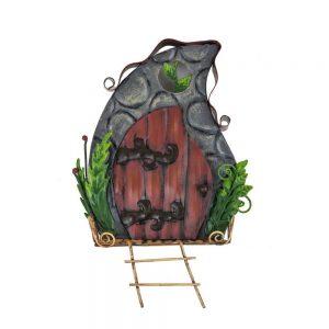 Fairy Door - Door in Wall with Ladder and Ferns