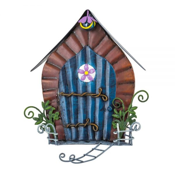 Fairy Door   with round flower window and ladder