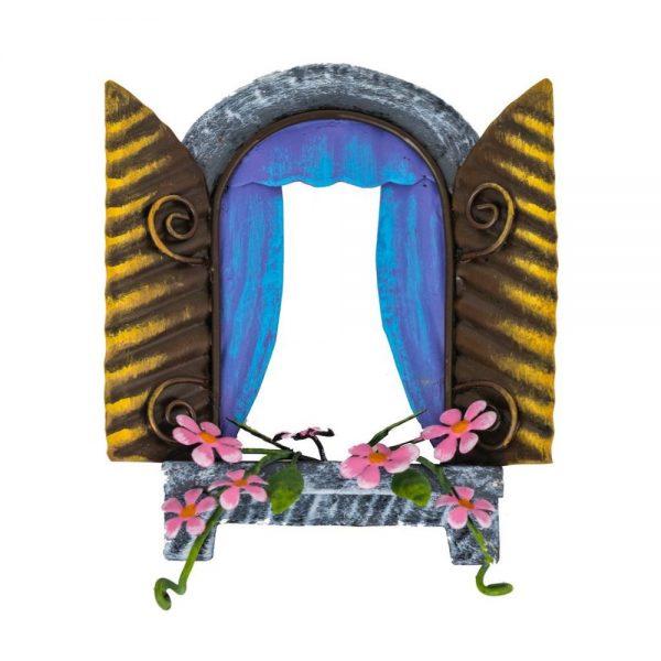 Fairy Kingdom Window Blue Curtains & Pink Flowers
