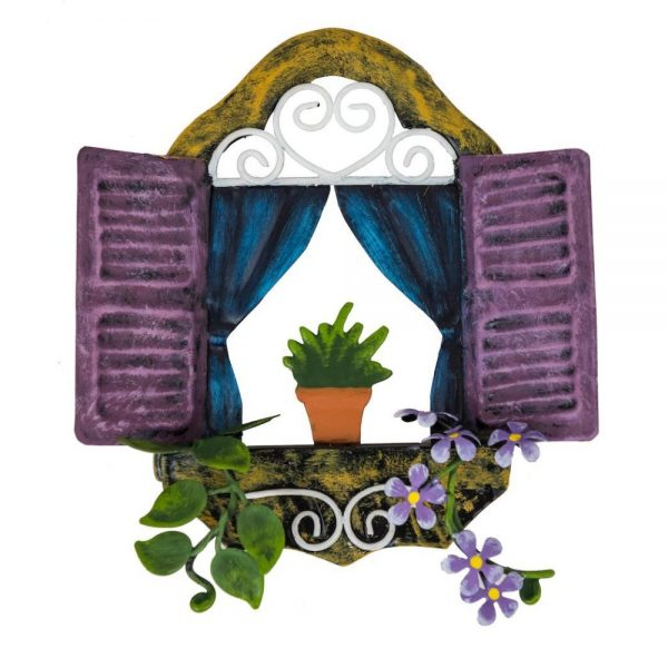 Fairy Window   Purple Shutters and Plant Pot