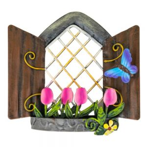 Fairy Window   Pink Tulips and Butterfly