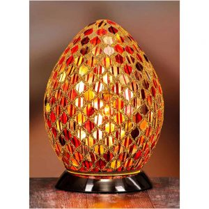 Amber and Red Mosaic Egg Lamp