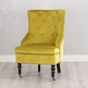 Torino Accent Chair Mustard Smooth Velvet