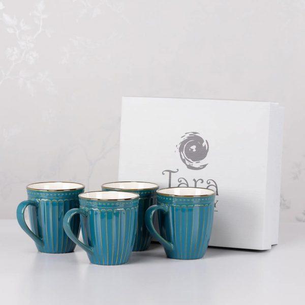 Tara Pottery Set of 4 Mugs Ridges Teal Reactive