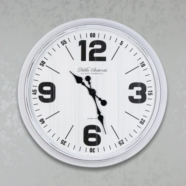 Retro Oversized Wall Clock 76cm Antique White