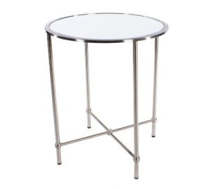 Grace Mirror Top Accent Table Brushed Chrome