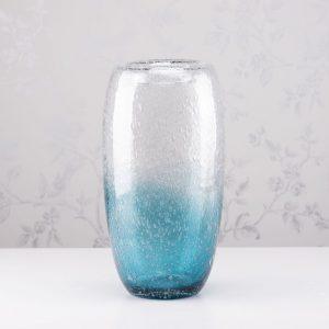 Bubbles Glass Vase Aqua Blue Height 34cm
