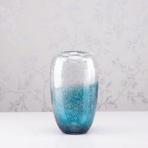 Bubbles Glass Vase Aqua Blue Height 27cm
