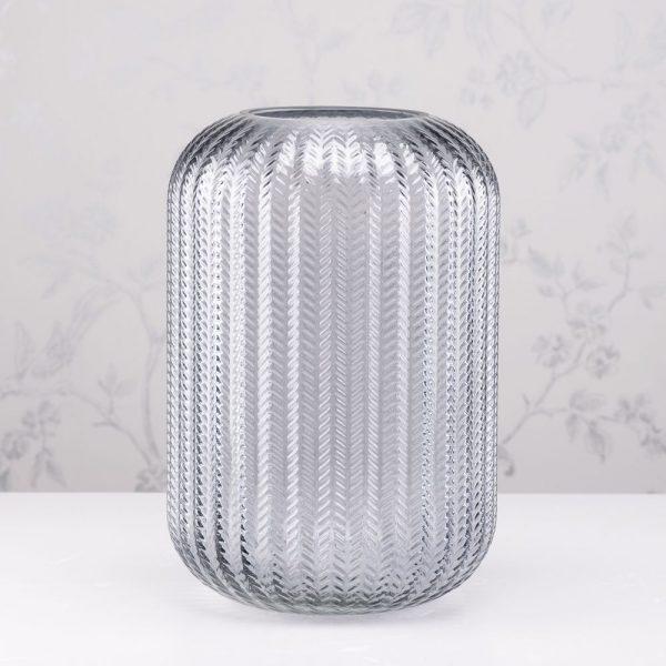 Glass Candleholder Smoke Grey Height 32cm