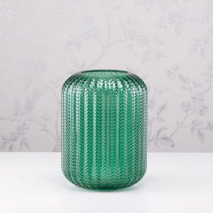 Glass Candleholder Green H24cm