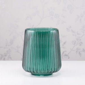 Glass Hurricane Green Candleholder Height 23cm