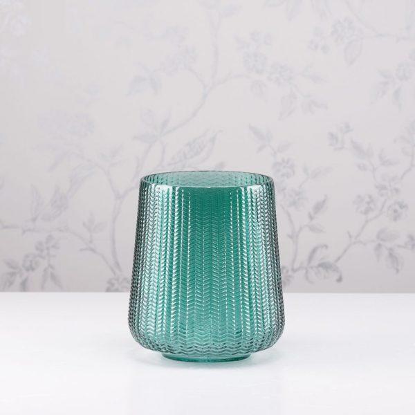 Glass Hurricane Candleholder Green Height 18cm