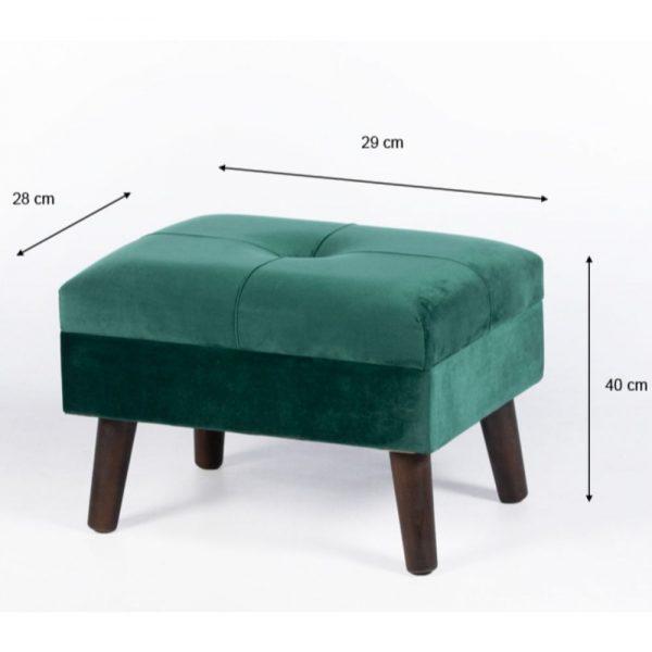 Smooth Velvet Footstool Green