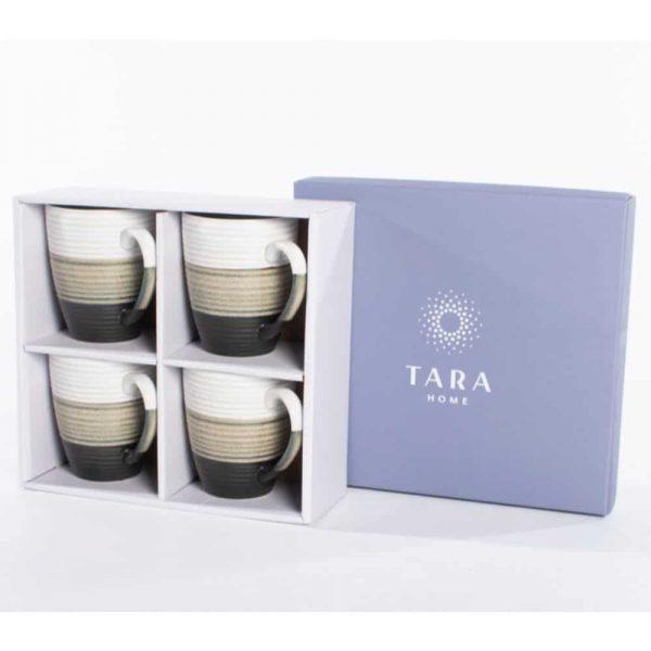 Tara Home Asker Set of 4 Mugs Reactive Grey
