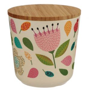 Autumn Falls Bamboo Small Round Storage Jar