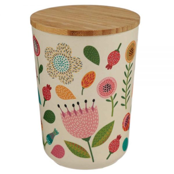 Autumn Falls Bamboo Medium Round Storage Jar