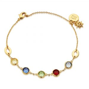 Newbridge Silverware Bracelet with Multi Coloured Stones