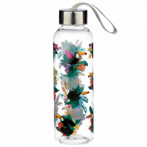 Toucan Party 550ml Water Bottle with Metallic Lid