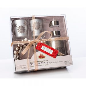 6 Piece Silver Christmas Candle Set